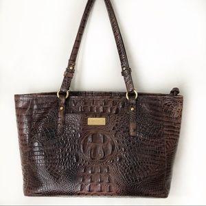 Brahmin Brown Croc Medium Asher Tote Shoulder Bag